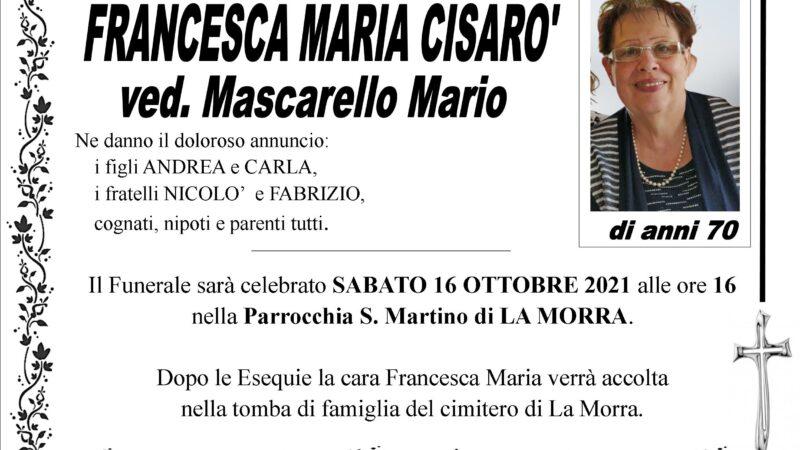 Francesca Maria Cisarò ved. Mascarello Mario