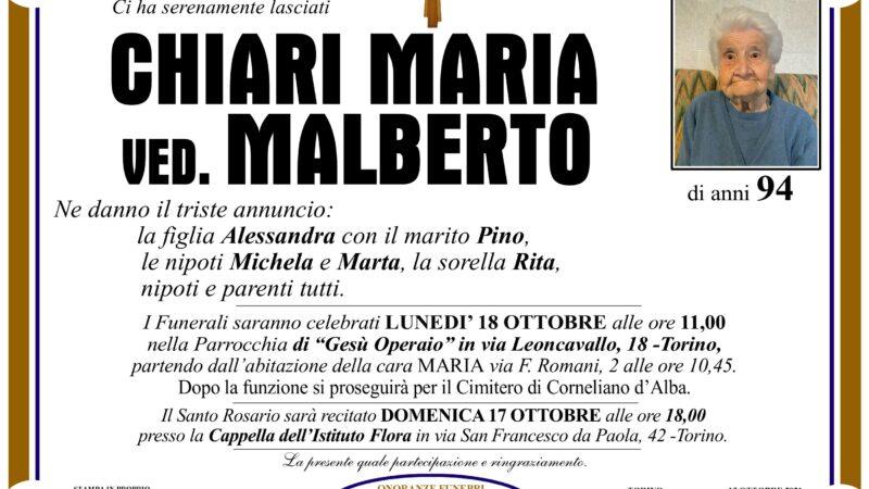 Maria Chiari ved. Malberto